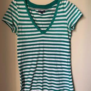 Green and white striped V neck